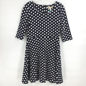 Yumi navy and cream polka dot dress